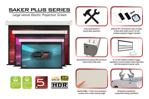 Elite Screens Saker Plus Series Projector Screen 235 inch 16:9 MaxWhite  1.1 Gain