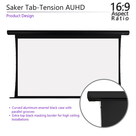 "Elite Screens Motorized Saker Tension Acoustic Projector Screen 100"" 16:9"