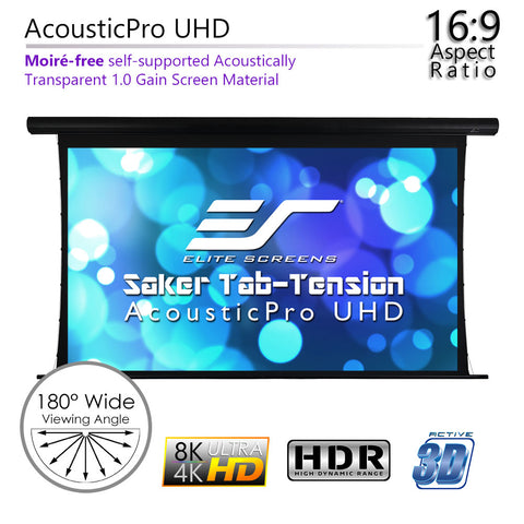 "Elite Screens Motorized Saker Tension Acoustic Projector Screen 120"" 16:9"