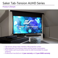 Elite Screens Saker Tab-Tension Motorized Acoustic Pro Projector Screen 100
