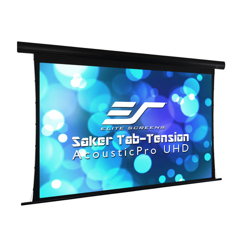 "Elite Screens Motorized Saker Tension Acoustic Projector Screen 110"" 16:9"