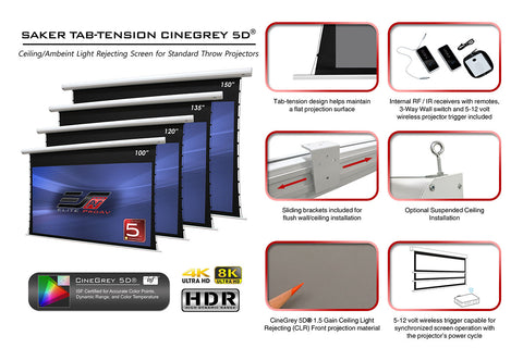 Elite Screens Saker Tab-Tension CineGrey5D, 150 inch 16:9 Electric Projector Screen