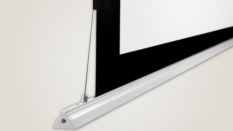 Tab-Tensioning and triangular weight bar keep the screen flat, and prevents edge curling