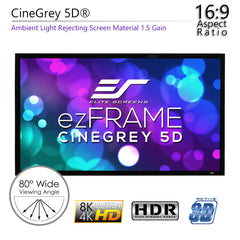 Elite Screens ezFrame CineGrey 5D 100 inch Fixed Projector Screen 16:9 1.5 Gain