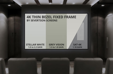 "Severtson Fixed Frame Projection Screen 4K Thin Bezel Series 2:35:1, 113""- 189"""