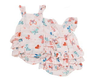 Butterfly Muslin Ruffle Bubble