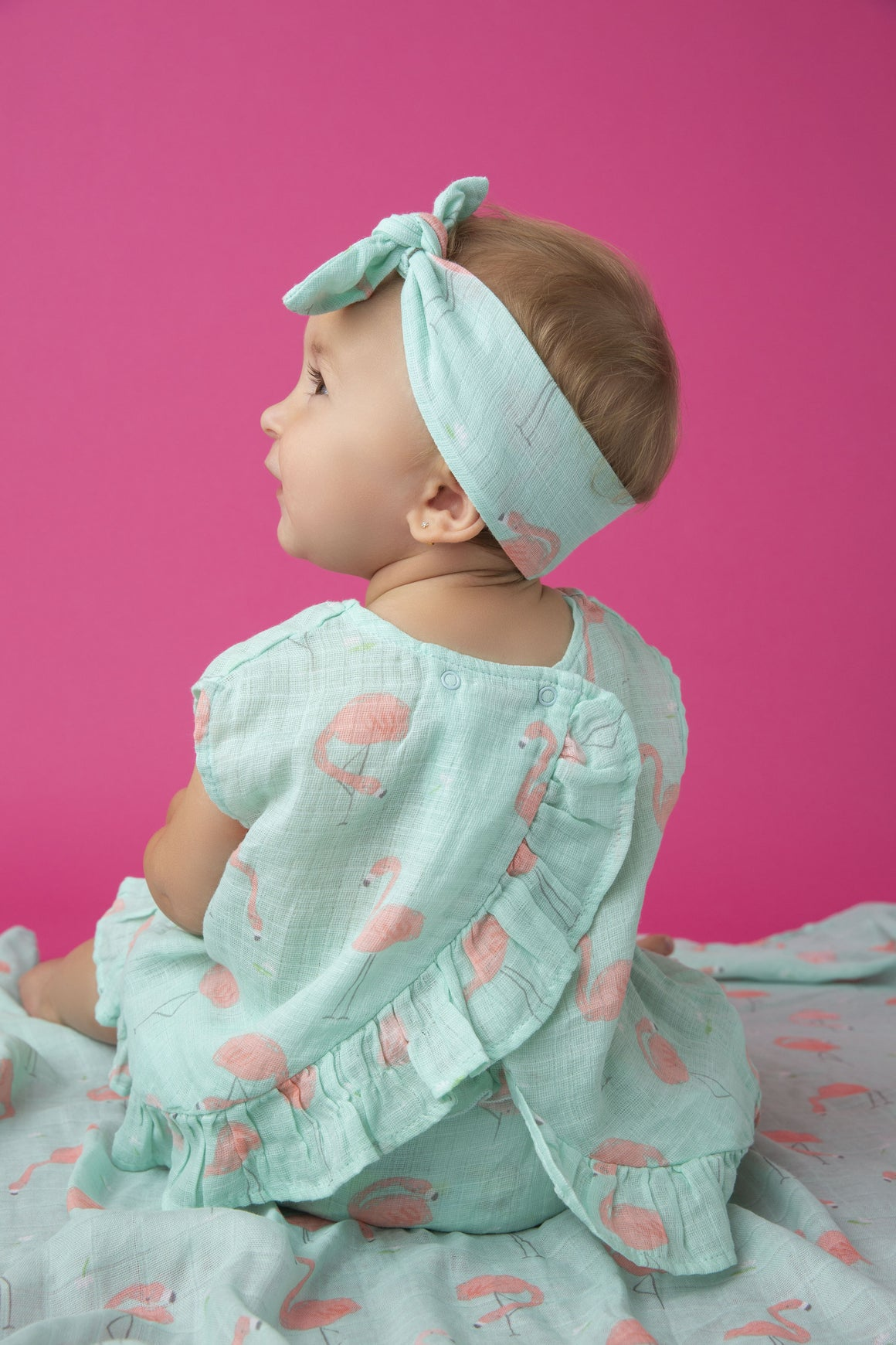 Flamingo Muslin Ruffle Back Top & Bloomer