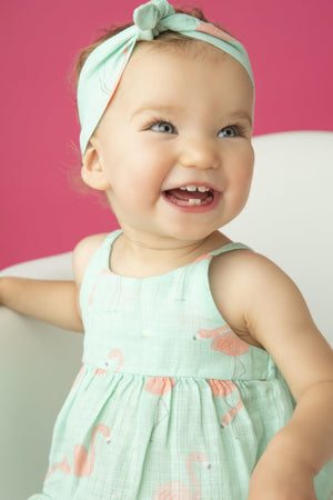 Flamingo Muslin Bow Back Romper