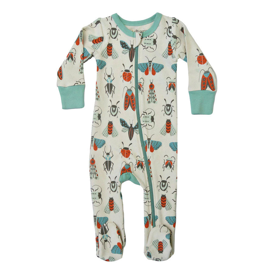 Creepy Crawlies Organic Cotton 2-Way Zip Footie