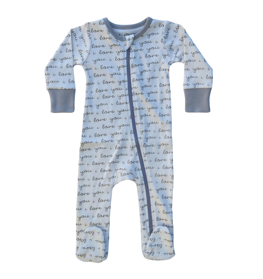 I Love You Organic Cotton 2-Way Zip Footie