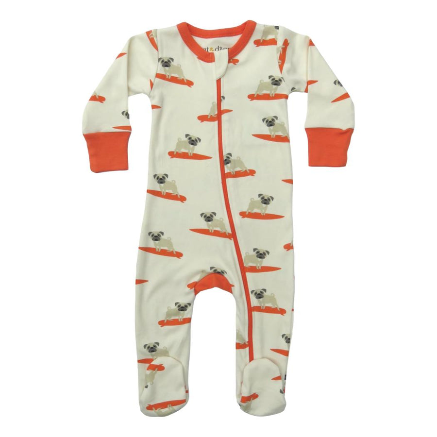Surf Pug Organic Cotton 2-Way Zip Footie