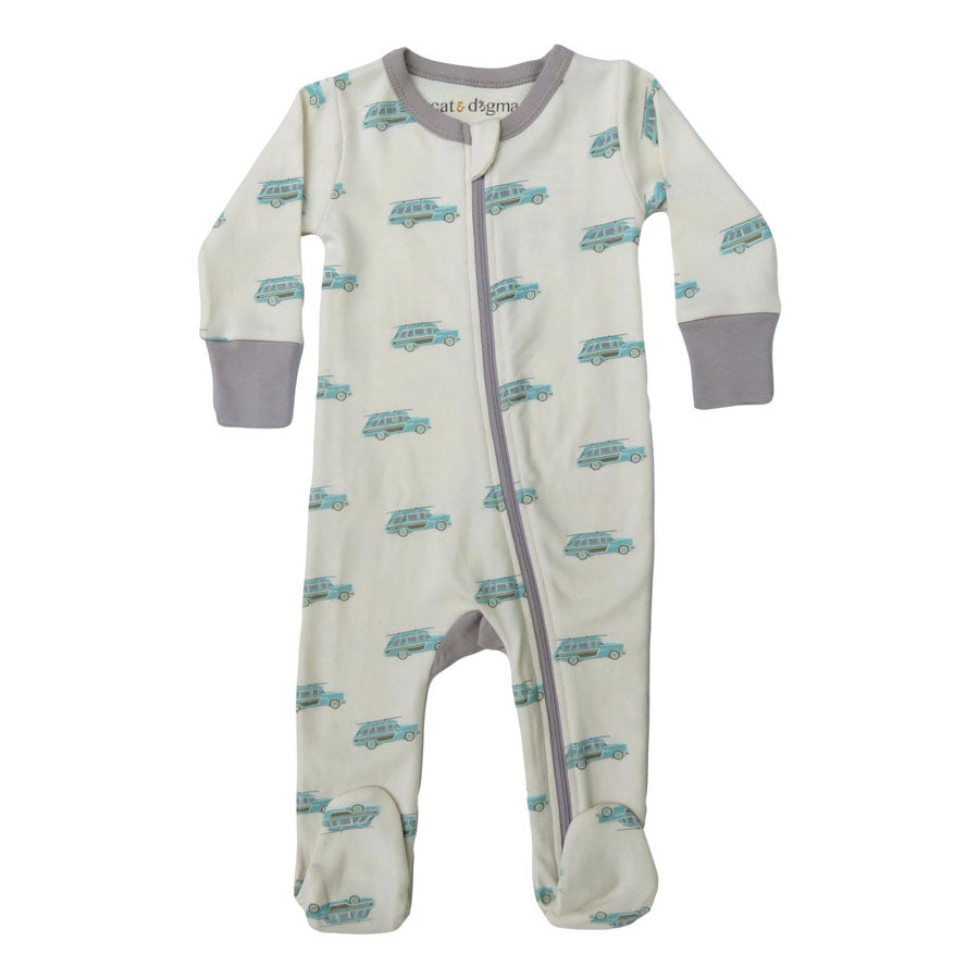 Surf Woody Organic Cotton 2-Way Zip Footie