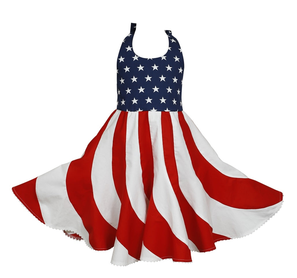 Red, White & Blue Twirl Dress