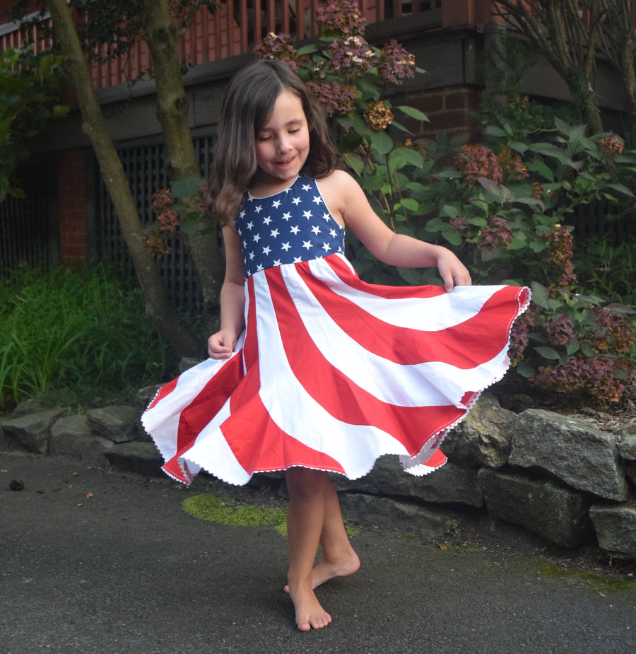 Red, White & Blue Flag Twirl Dress