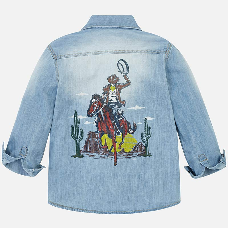 Cowboy Print Denim Snap Front Shirt