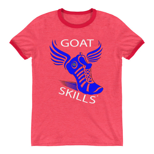 GOAT Skills Track Legend Begins Ringer T-Shirt - Red White Blue