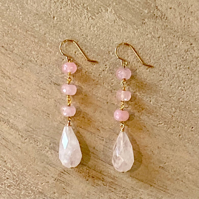 Earthyluxe Earrings - 14K Gold Pink Quartz