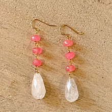 Load image into Gallery viewer, Earthyluxe Earrings - 14K Gold Pink Quartz