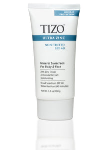 TIZO Ultra Zinc Body & Face Sunscreen - non-tinted dewy finish SPF 40