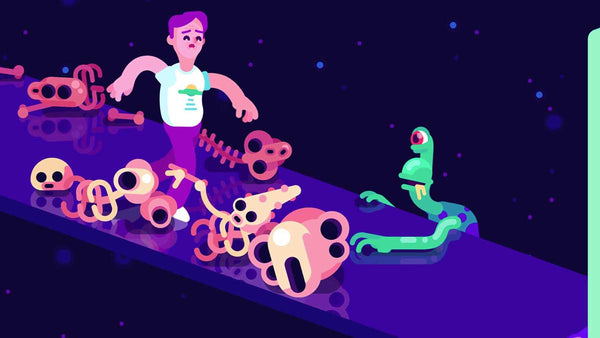 "Human and Alien from ""Kurzgesagt – in a Nutshell"" YouTube show on a dark blue background"