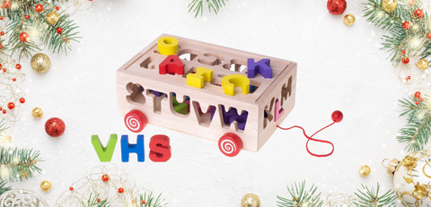 wooden sorter on wheels letters
