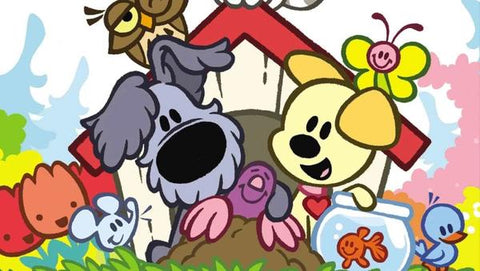 Characters of a Woozle & Pip cartoon on a multicolour background