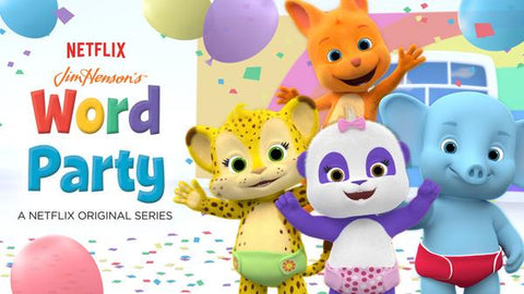 """Characters of a """"Word Party"""" Netflix show on a light background"""