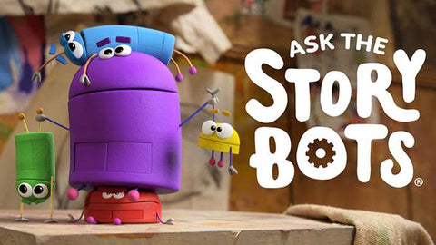 """Characters of a """"Ask_the_Storybots"""" Netflix show on an blurred background"""