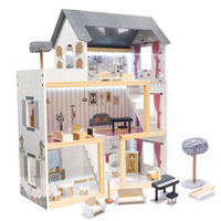 Wooden Retro Doll House With Furniture 78cm