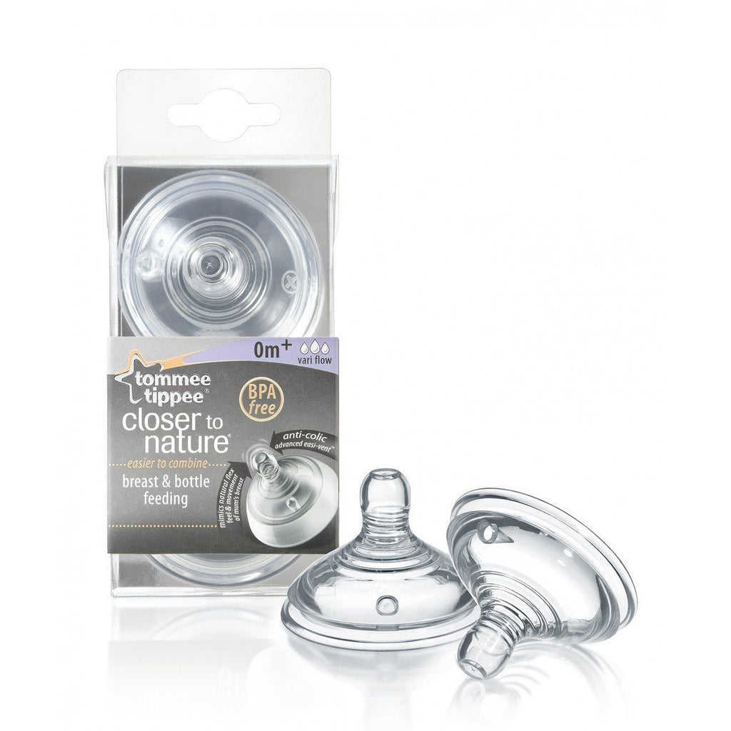 Tommee Tippee Closer to Nature Teat 0m+ Newborn Vari-Flow 2 Pack