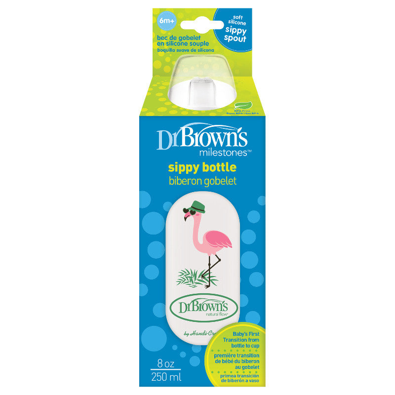 Dr Brown's Bottle Like Sippy Cup 250 ml Flamingo