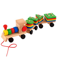 Wooden Train With Wagons - Montessori Style