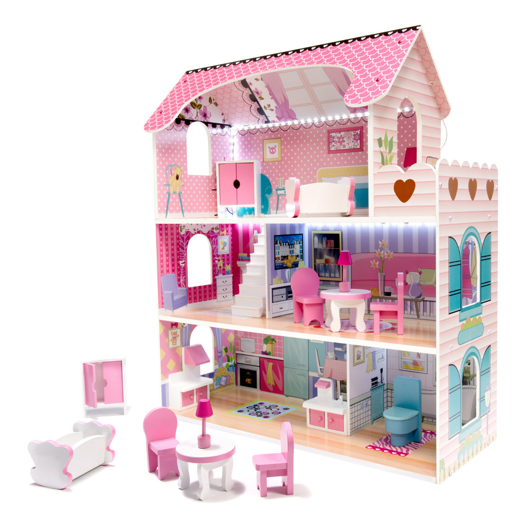 NEW! Pink Wooden Villa Dollhouse 70cm LED