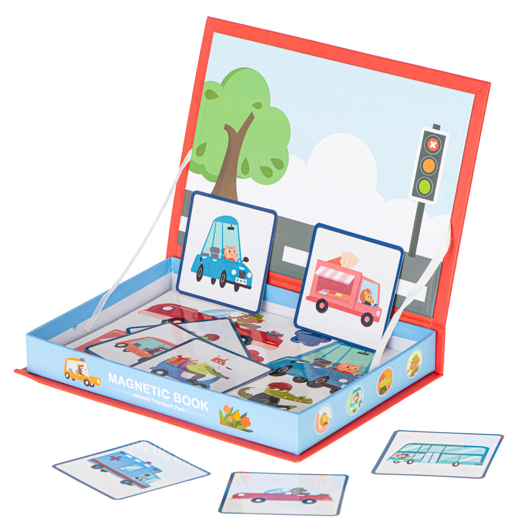 Magnetic Puzzle Book With Stickers - Vehicles