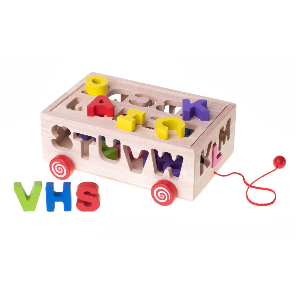Wooden Blocks Sorter On Wheels - Letters