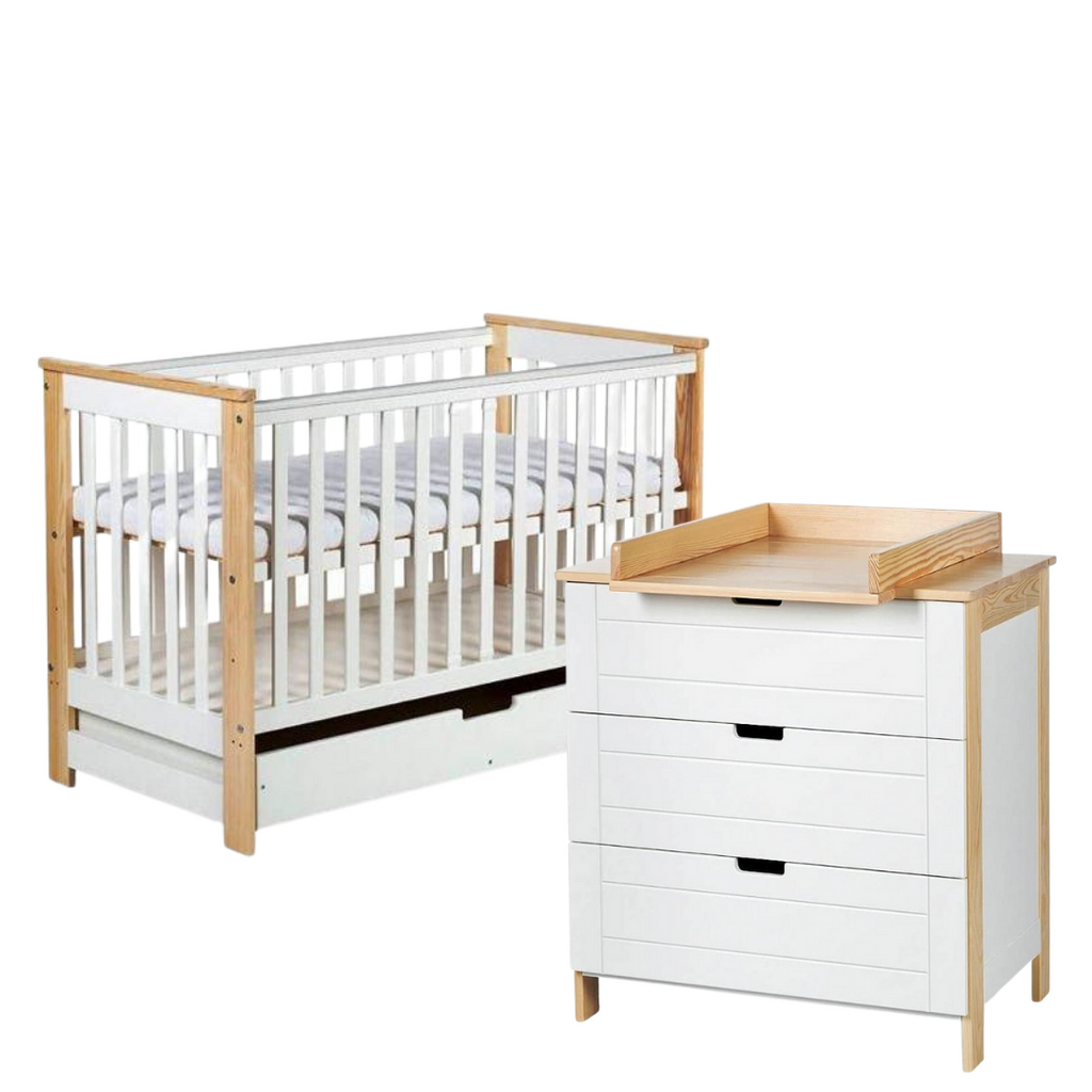 Iwo Set (Cot bed 120x60 with a drawer + Chest of drawers with a changer) - available in 2 colours