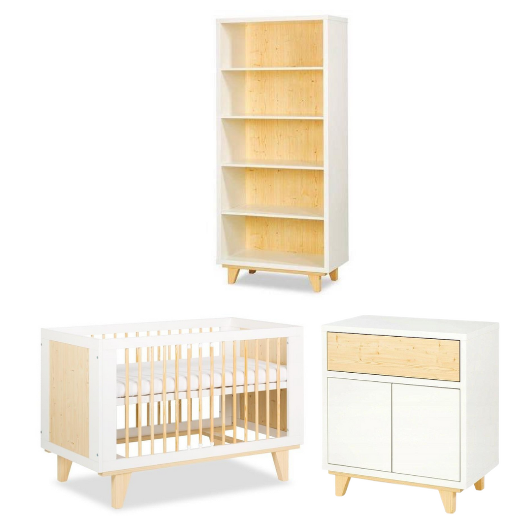 Lydia Medium Set (Baby Cot 120x60+ Chest of drawers with a changer + Bookcase)