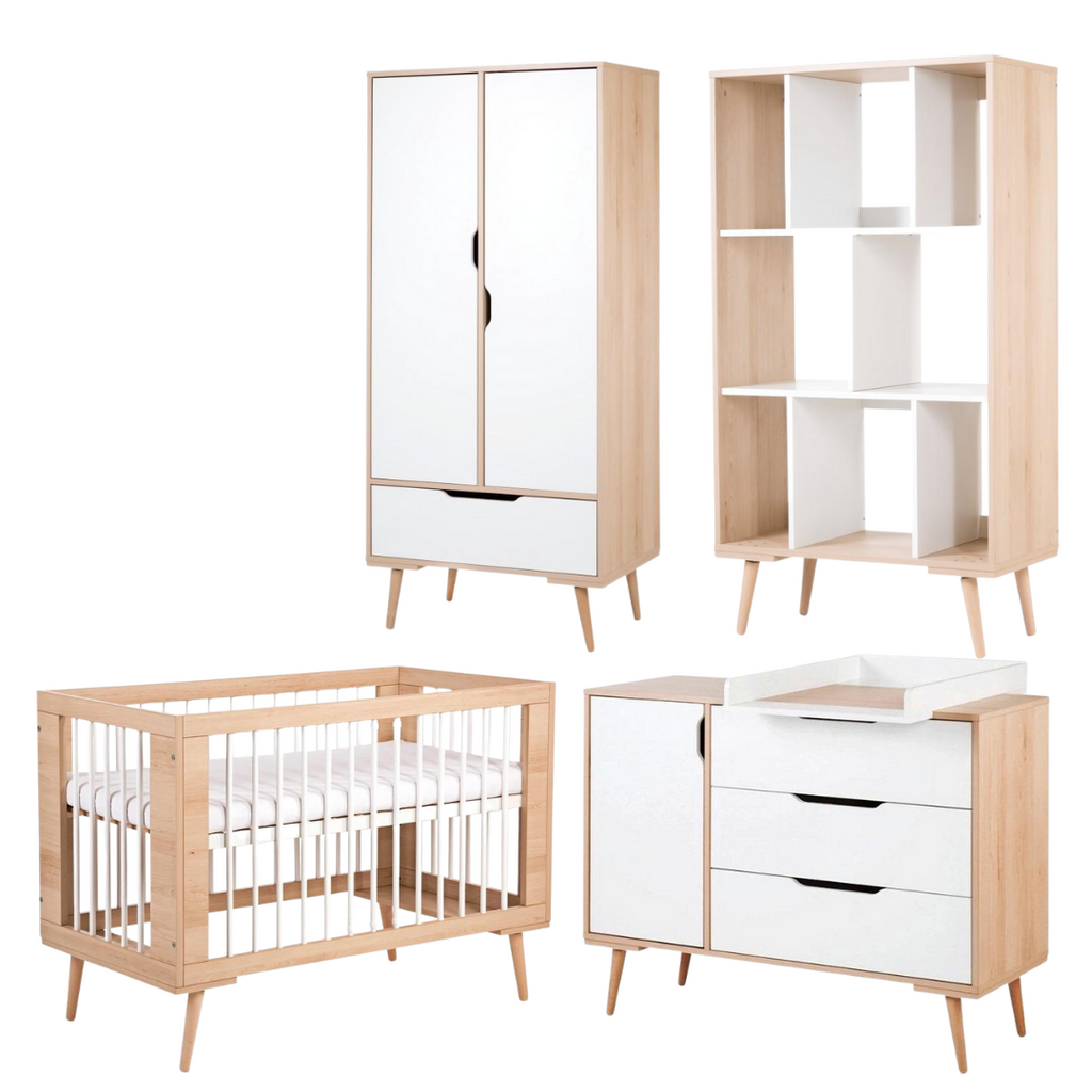 Sofie All in One Set (Baby Cot + Chest of drawers with a changer + Wardrobe + Bookcase) - Baby Cot available in 2 colours