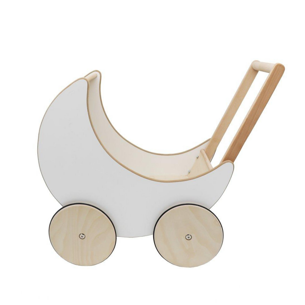 Wooden Doll Buggy - White