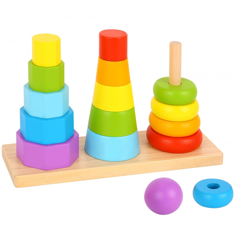 TOOKY TOY Wooden Sorters Three Towers