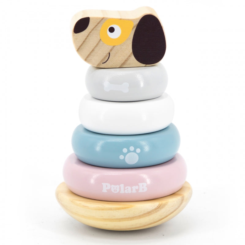 Viga Wooden Wobbly Stacking Tower - Puppy