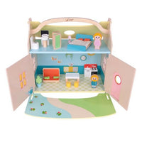 CLASSIC WORLD Wooden Doll House - 21 pcs