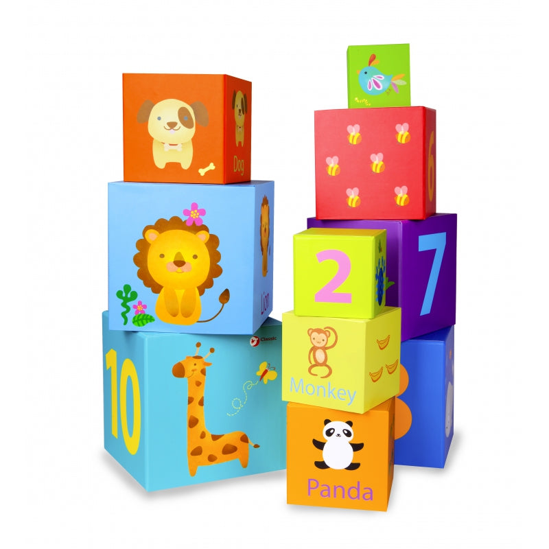 CLASSIC WORLD Stacking Cubes With Numbers And Animals