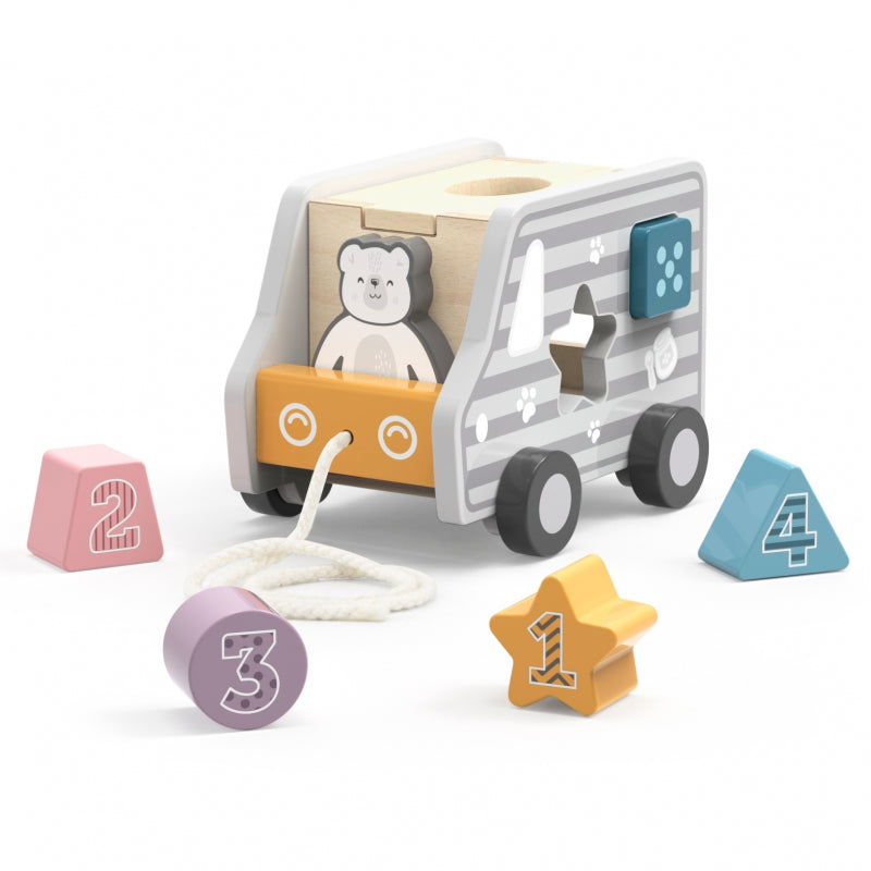 Viga Wooden Pull-Along Shape Sorting Truck - Grey