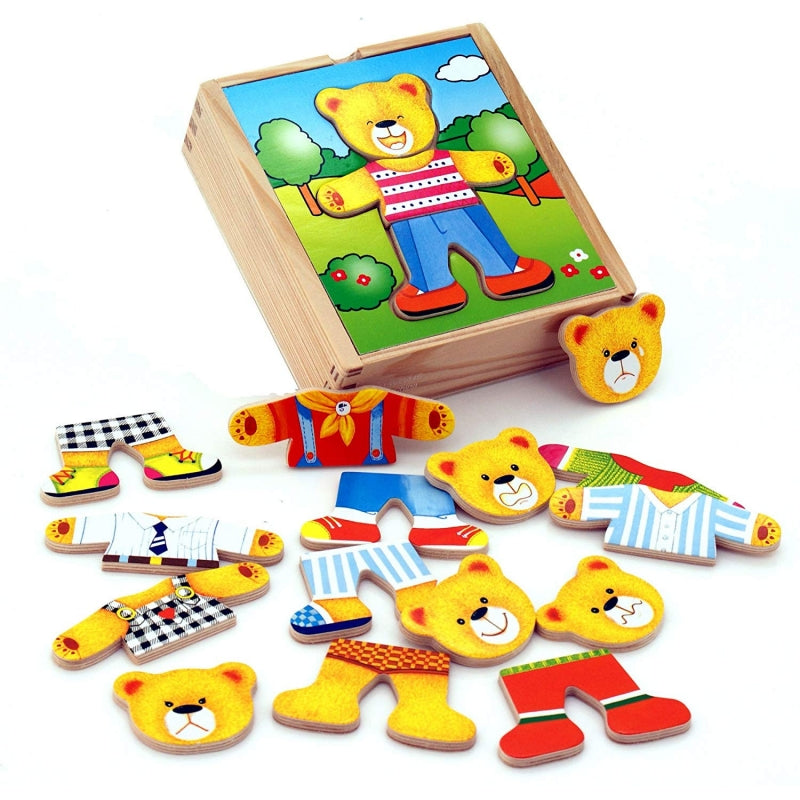 Viga Wooden Teddy Bear Boy Dress Up Puzzle