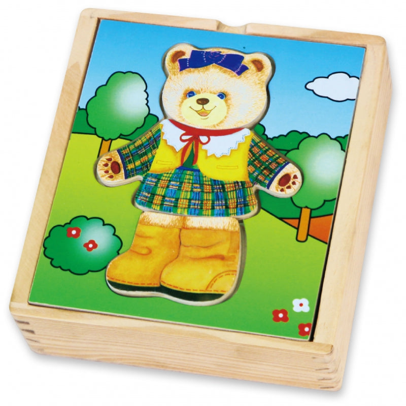 Viga Wooden Teddy Bear Girl Dress Up Puzzle