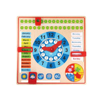 TOOKY TOY Wooden Clock and Calendar 2in1