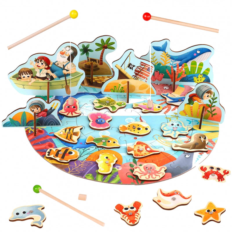 TOOKY TOY Wooden Arcade Fishing Game