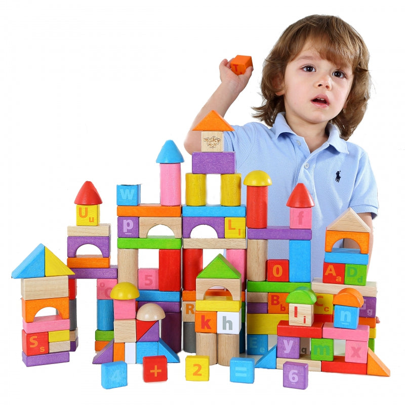 TOOKY TOY  Wooden Colorful Blocks 135 pcs
