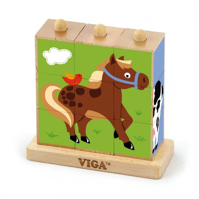 Viga Wooden Logic Puzzle Farm Animals - 9 pcs